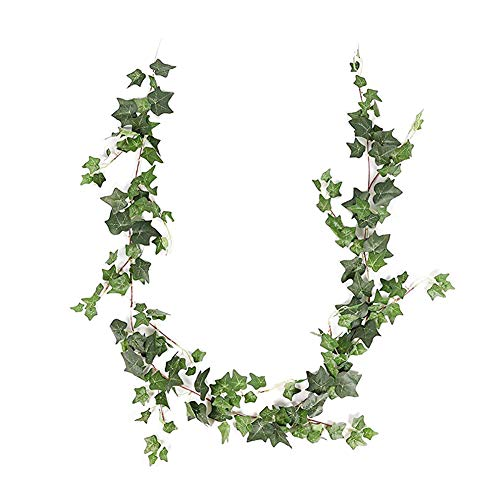 JUSTOYOU Ivy Leaves Garland Artificial Plants,6.2ft English Ivy Wedding Garland Greenery Fake Hanging Foliage Vine Plants for Wedding Home Garden Wall decor (Green Ivy Leaf)