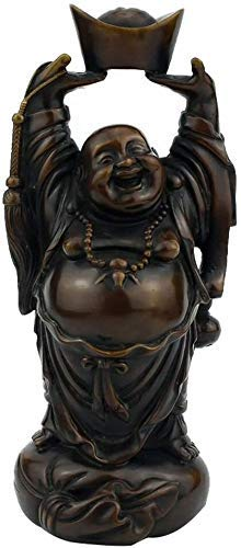 L.TSN Laughing Buddha Statues, Decor Sculptures Pure Brass Chinese Feng Shui Wealth Good Luck Home Office Prosperity Figurines