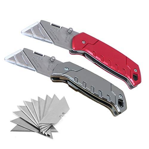 Universalmesser Cutter, Toolove 2 Stück Universal-Klappmesser, Taschen-Allzweckmesser mit weichem rutschfesten Griff, 10 extra auswechselbare Klingen, leichter Aluminiumgriff