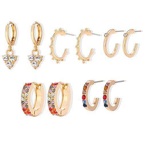 FEARRIN Pendientes Vintage Retro Dorado Color Dorado Pendientes de aro para Mujer Pequeños y Simples Pendientes de Oreja de círculo Redondo Accesorios de joyería de Vapor H180-KM724-02