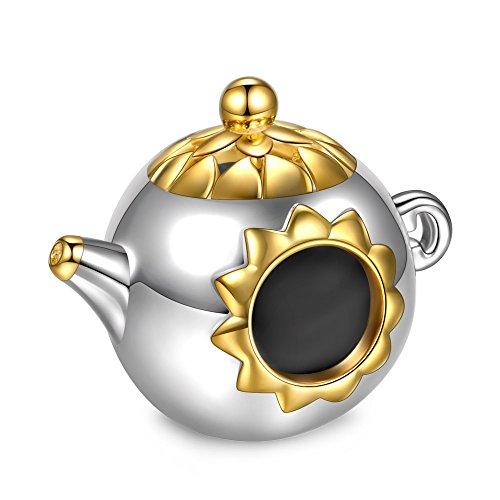 NINAQUEEN® Charm/Tiempo de té Sereno/Plata 925, En Oro, con Caja de Regalo, ¡la Mejor opción para el día de la Madre Madre, Las Joyas de mamá