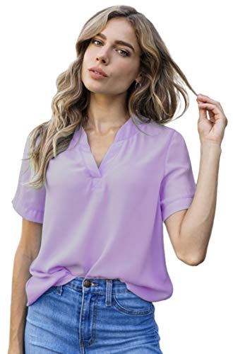 roswear Women's Casual Blouse V Neck Short Sleeve Top Shirts Lavender XX-Large
