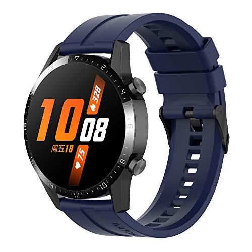 Braleto Armband Silikon 22mm Uhrenarmband Silikon Sport Band kompatibel für Huawei Watch GT 2/Samsung Galaxy Watch 46mm/Gear S3/Gear 2 R380/Gear 2 Neo R381 (Mitternachtsblau)