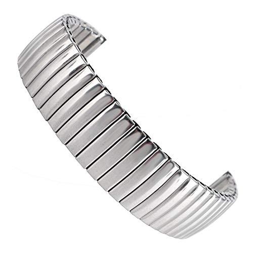 3°Amy Correas de reloj de 18 mm de plata de acero inoxidable elástico pulsera de moda correa de repuesto para hombre y mujer + 2 barras de resorte #A