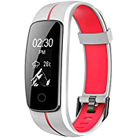 MICROTELLA Fitness Tracker Smart Watch (White/Red)