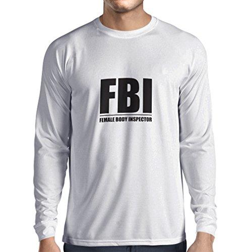 Camiseta de Manga Larga para Hombre Inspector del Cuerpo Femenino - Regalos Divertidos para los Hombres, Citas chistosas (Medium Blanco Negro)