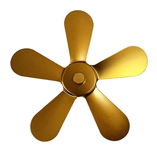 PETSOLA Cuchillas de Repuesto para Ventilador de Chimenea, aleación de Aluminio 5 Hojas de Ventilador de Chimenea accionado por Calor Hoja Universal de Estufa - Oro