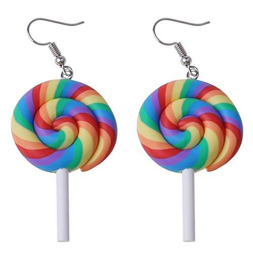 XUNXI Pendientes creativos de Moda, Divertidos y Coloridos Rainbow Lollipop Hook Pendientes Polymer Clay Candy Ice Cream Dangle Kawaii Earrings Women Fashion Jewelry