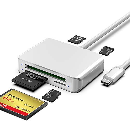 USB C SD Kartenleser Micro SD CF Speicherkartenleser Adapter 5-in-1 USB C Card Reader mit TF/SD/CF/M2 Speicherkarte Solt für MacBook, iPad Pro, Samsung Galaxy, Surface Book 2 und mehr
