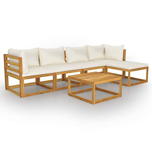 vidaXL Madera Maciza de Acacia Muebles de Jardín 6 Piezas Cojines Mobiliario Exterior Hogar Terraza Sofá Mesa Asiento Suave con Respaldo Crema