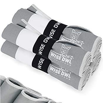 Wise Owl Outfitters Yoga Towels - 4 Pack Microfiber Quick Dry Hand Face and Body Sweat Towels for Gym Sports Workout & Travel Grey