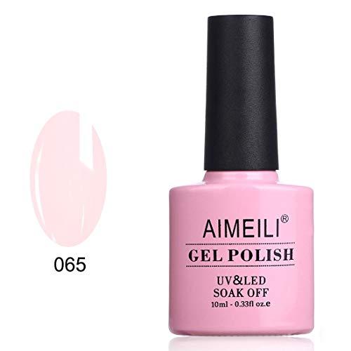 AIMEILI Smalto Semipermanente Smalti per Unghie Soak Off UV LED in Gel Rosa - Pink Nude (065) 10ml