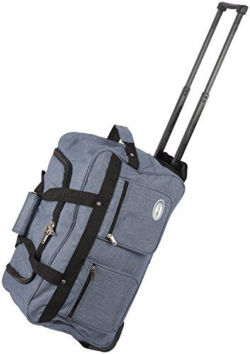 Dynamic24 Leonardo Canvas Trolley Tasche 47L Sporttasche Reisetasche Koffer Handgepäck Boardtrolley (Blau)