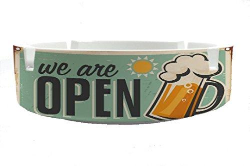 Aschenbecher Rund Bier Retro Geöffnet Ascher Partykeller Fun