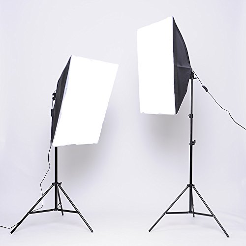 MVPOWER Softbox Kit Iluminacion Fotografía con Luz Continua con 2 Bombilla Lampara 135W + 2 Ventana de Luz 50x70cm + 2X Trípode 68-200 cm, para Estudio Profesional