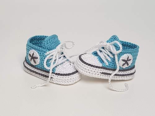 Babyschuhe gehäkelt-Sneakers-türkis/anthrazit-Turnschuhe-Sportschuhe-Krabbelschuhe