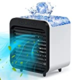 Personal Air Cooler, Battery Operated Portable Air Conditioner Fan, USB Rechargeable Space Evaporative Cooler with 3 Speeds, Misting Desktop Cooling Fan for Home, Office, Room, Camping