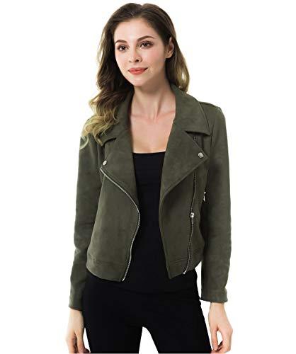 Apperloth Faux Suede Jackets for Women Long Sleeve Zipper Short Moto Biker Coat (Style 2-Army Green, M)