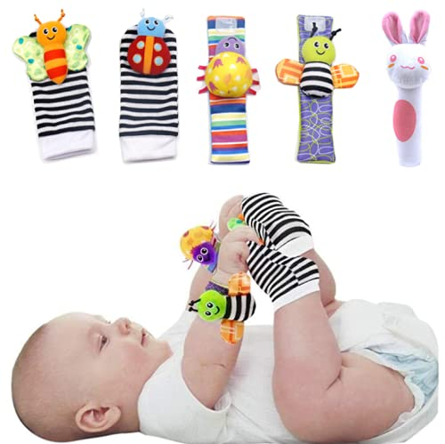 Newborn Toys 0-3 3-6 6-12 Months plus, Wrist Rattle Cloth Soft Socks Foot Finders Set for Baby Girls Boys, 5Pcs, Infant Toy Socks & Baby Wrist Rattle, for Infants Developmental Texture Toys.