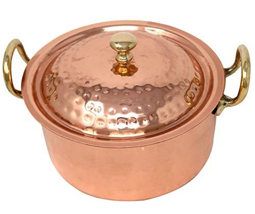 Pot de cuisine en cuivre Laiton avec deux poignées et d'un couvercle indien ustensile de cuisine à la main martelé Contenance 1900 ml
