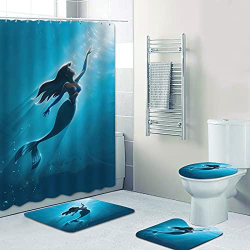 Fgolphd Duschvorhang DisneyMeerjungfrau Arielle 180x200180x180 Strand Bunt Badezimmerteppich 4-teiliges Set, Shower CurtainsWasserdicht (180 x 180 cm,9)
