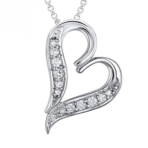 Silvernshine jewels Colgante con Forma de Corazón DE 0,2 CTS D/VVS1 con Cadena DE 18