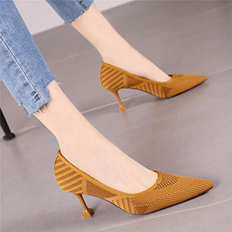 HRCxue Pumps Schwarze dünne Spitze Flache Mund Stiletto Abstze Frauen Mode Kamel Wilde Hohle Schuhe