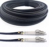 Elfcam® - Cables de Fibra Óptica Blindados LC/UPC a LC/UPC OM3 Multimodo Duplex 50/125um LSZH, para Instalaciones en Exteriores e Interiores, Negro, 20M