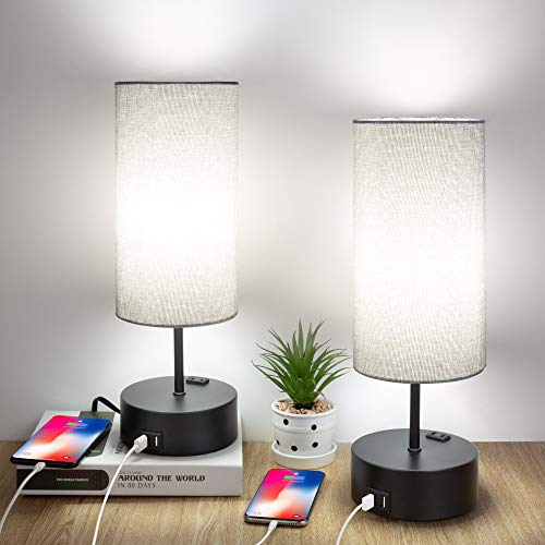 Touch Control Table Lamp, Set of 2 Bedside Desk Lamps with 2 USB Ports & AC Outlet, 3 Way Dimmable Nightstand Lamp for Bedroom Living Room Office, Grey Fabric Shade, 60W 4000K LED Bulbs Included