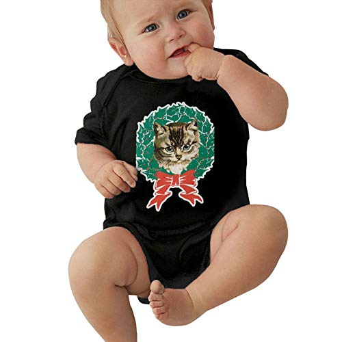 The Cat in The Christmas Garland Boy Girl Soft Cotton Short Sleeve Baby Jersey Bodysuit 0-24 Months Black