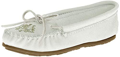 Minnetonka Women's Deerskin Beaded Moccasin White 6.5 M