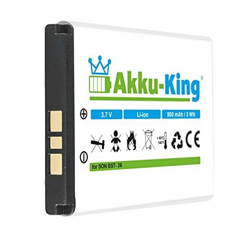 Akku-King Akku kompatibel mit Sony-Ericsson BST-36 - Li-Ion 800mAh - für J300i, K310i, K510i, T250i, T270i, T280i, W200, Z310i, Z550i, Z558i