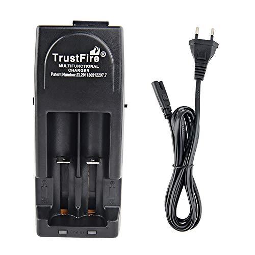 TrustFire TR-001 Akku Ladegerät AC/DC Batterieladegerät mit 2 X Ladeschächte - 3V und 4,2V für wiederaufladbare Akkus Li-Ion IMR LiFePO4 10430 10440 17670 18500 18350 18650 14500 16340 - Schwarz