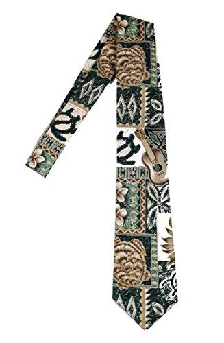 Hawaii Neckties - Green Tapa