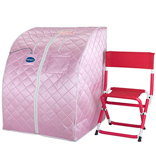 Durasage Personal Ultra Low Emf Portable Infrared Sauna Spa for Weight Loss, Detox, Relaxation at Home, 30 Minute Timer, with Handheld Remote Control, Heated Footpad and Chair (Light Pink)