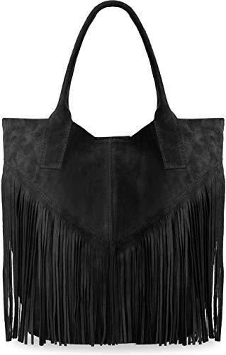 große Damentasche Wildleder Naturleder mit Fransen Boho-Style Beuteltasche viele Farben (schwarz)