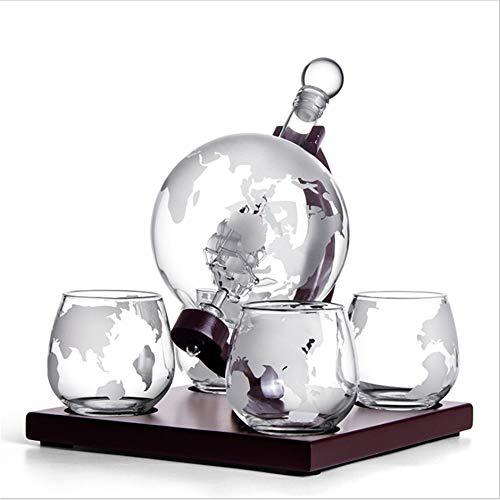 TTLIFE Juego de decantador de whisky, 1000 ml, con cuatro vasos de cristal y soporte de madera clásico