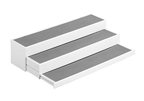 Wenko 53155100 Steps Küchen-/ Gewürzregal, 3-stufig ausziehbar, Polypropylen, 37 x 8,5 x 8,5-23,0 cm, weiß