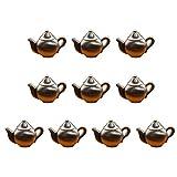 MLOZS Juego de 10 llamas para puerta, estilo retro de bronce antiguo, estilo vintage, estilo tetera, estantería de cocina, cajón de té, mango