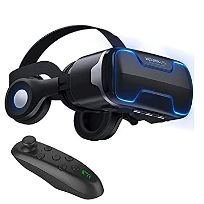 """VR Goggles Virtual Reality Headset with Remote & Headphones for iPhone X 8 6 Plus SE, Samsung Galaxy S8 S7 S6 Edge Note5, 3D VR Glasses for 3D Movie & Game for 4.0-6.0"""" IOS & Android Smartphone, Black from TSANGLIGHT"""