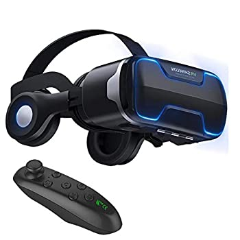 """VR Goggles Virtual Reality Headset with Remote & Headphones for iPhone X 8 6 Plus SE Samsung Galaxy S8 S7 S6 Edge Note5 3D VR Glasses for 3D Movie & Game for 4.0-6.0"""" IOS & Android Smartphone Black"""