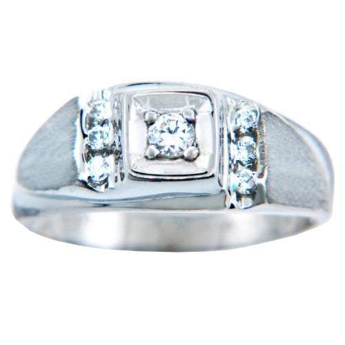 Pequeños Tesoros - Anillos Hombres Alianza De Boda 10 KT Oro 471/1000 Diamante Oro Blanco