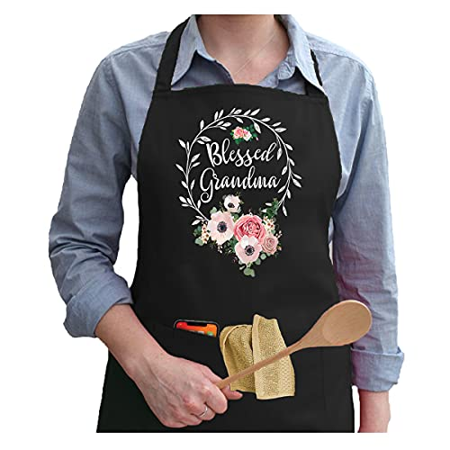 APASIN Blessed Grandma with Floral Kitchen Apron with 2 Large Pockets - Apron Gift for Your Mother, Your Mom, Your Mama, Your Nana (Black)