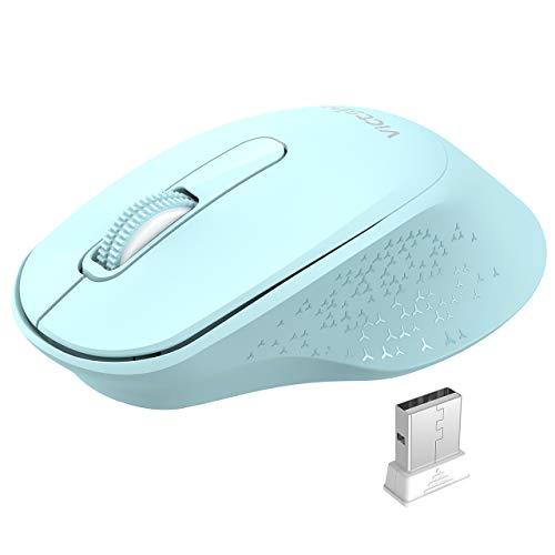 VicTsing Maus Klein, 2.4G Laptop Maus mit EIN/aus-Schalter, 1600 DPI, Tragbare Computermaus mit 18 Monate Akkulaufzeit für PC Laptop Tablet, Sky Blau