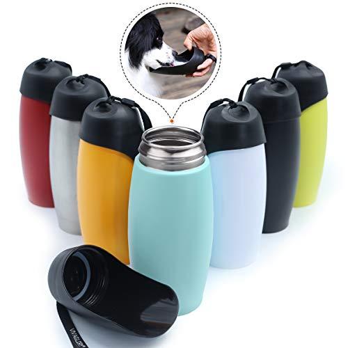VIVAGLORY 750ML Edelstahl-Wasserflasche für Hunde mit großem Trog, für Spaziergänge im Freien, Wandern, Mintgrün