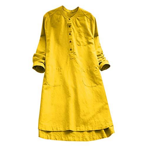 VJGOAL Damen Kleid, Damen Lässige Retro-Baumwolle und Leinen Knopf Lange Tops Bluse Lose Lange Ärmel Mini Hemd Kleid … (46, Gelb)