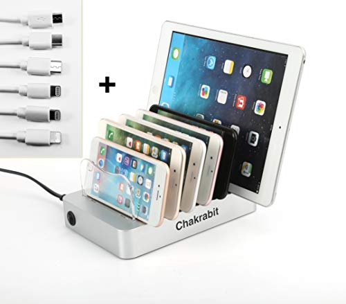 Chakrabit Fast Charging Universal 6-Port USB Charging Station Dock Compatible with Smartphones, Tablets, Smartwatches, and USB Powered Devices Inclusive 6 Short Charging Cables