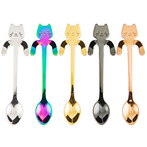 BingGoGo Cute Cat Coffee SpoonTea spoonStainless Steel5 PCS Multi