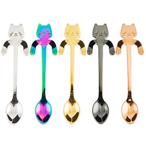 BingGoGo Cute Cat Coffee SpoonTea spoonStainless Steel5 PCS Multi