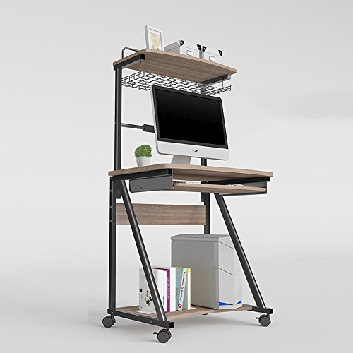 Folding table LVZAIXI Kirschbaum-Möbel 2 in 1 erweitern Computer-Arbeitsplatzrechner mit Lagerregal und Roller Caster (Farbe : Deep Oak Color, größe : Keyboard Tray)